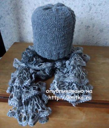 Шапка и шарф спицами. Работы Валерии. Вязание спицами.