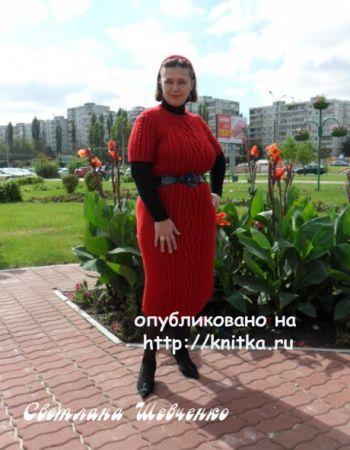 Вязаное платье с аранами. Работа Светланы Шевченко. Вязание спицами.