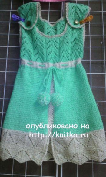 Сарафан для девочки спицами. Работа Натальи. Вязание спицами.
