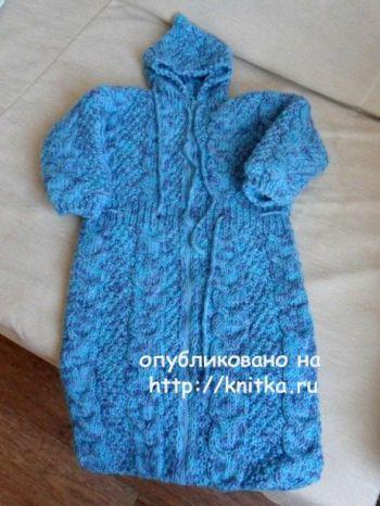 Детский спальный мешок спицами. Работа Светланы Шевченко. Вязание спицами.