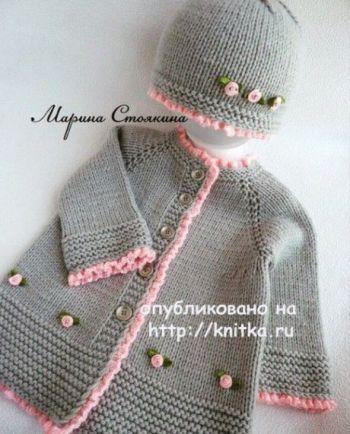 Кардиган и шапочка спицами. Работы Марины Стоякиной. Вязание спицами.