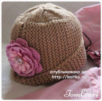 Женская шапочка спицами. Работа Тамары. Вязание спицами.