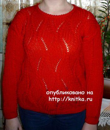 Женский пуловер. Работа Елены Антиповой. Вязание спицами.