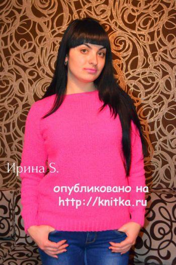 Женский свитер спицами. Работа Ирины Стильник. Вязание спицами.