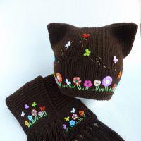 Шапка и шарф спицами Шоколад. Работы Марины Стоякиной