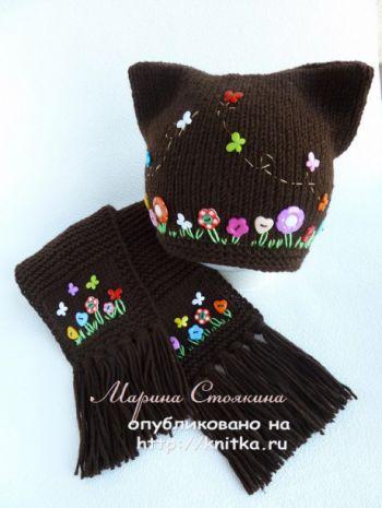 Шапка и шарф спицами Шоколад. Работы Марины Стоякиной. Вязание спицами.