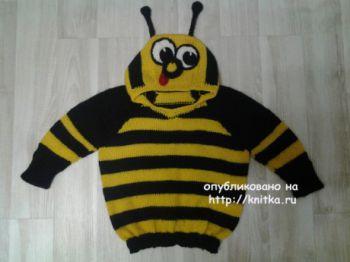Джемпер Пчелка. Работа Галины. Вязание спицами.