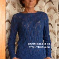 Пуловер с узором листья. Работа Марины Ефименко