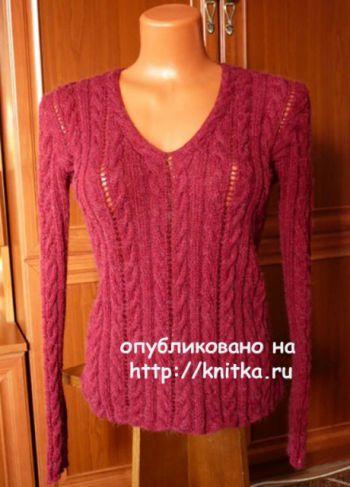 Женский пуловер с косами. Работа Марины Ефименко. Вязание спицами.