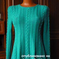 Расклешенный пуловер спицами. Работа Марины Ефименко