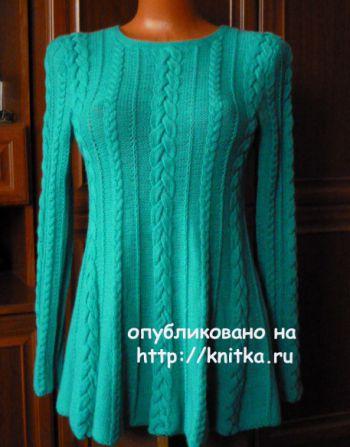 Расклешенный пуловер спицами. Работа Марины Ефименко. Вязание спицами.