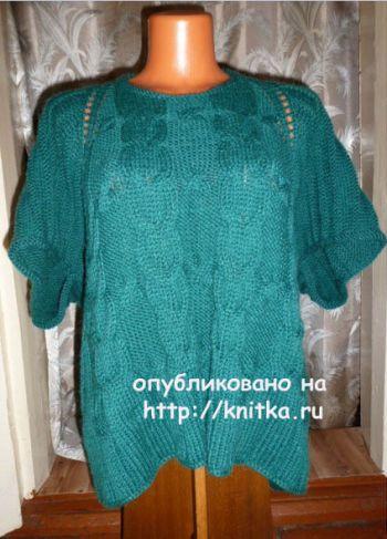 Пуловер – пончо спицами. Работа Марины Ефименко. Вязание спицами.
