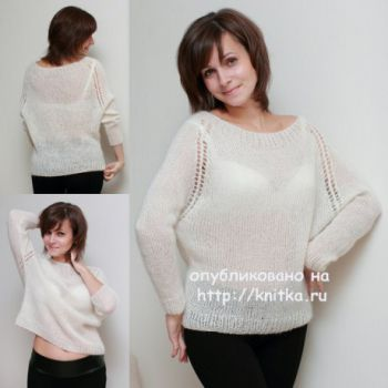 Вязаный пуловер. Работа Вилены. Вязание спицами.