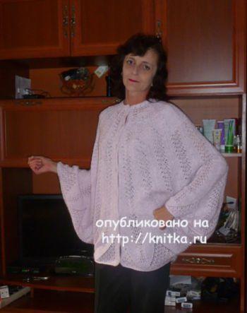 Ажурное пончо – жакет. Работа Марины Ефименко. Вязание спицами.