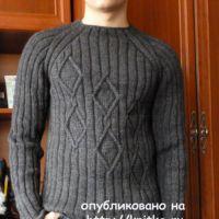 Мужской пуловер спицами. Работа Марины Ефименко