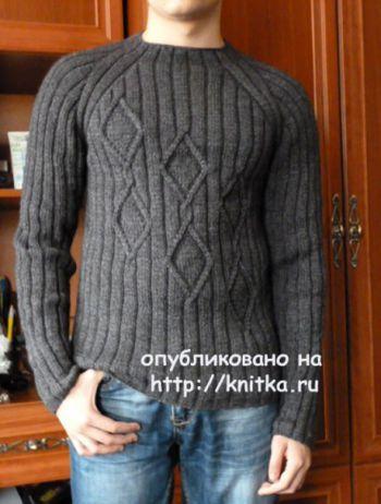 Мужской пуловер спицами. Работа Марины Ефименко. Вязание спицами.