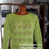 Пуловер с ажурным узором. Работа Марины Ефименко