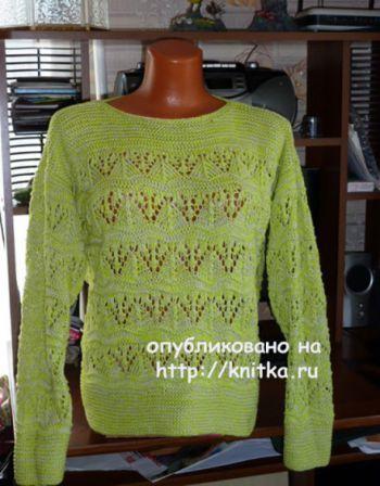 Пуловер с ажурным узором. Работа Марины Ефименко. Вязание спицами.
