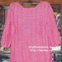 Женский пуловер с ажурными рукавами. Работа Елены
