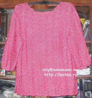 Женский пуловер с ажурными рукавами. Работа Елены. Вязание спицами.