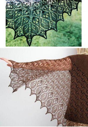 Вязаная спицами шаль Ламинария. Вязание спицами.