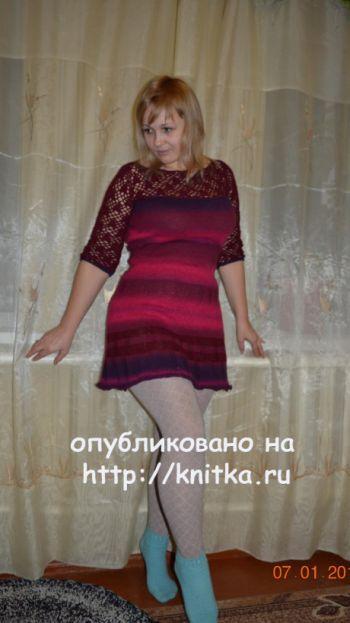 Платье комбинированное. Работа Оксаны. Вязание спицами.