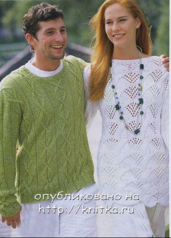 Мужской зеленый пуловер связан спицами