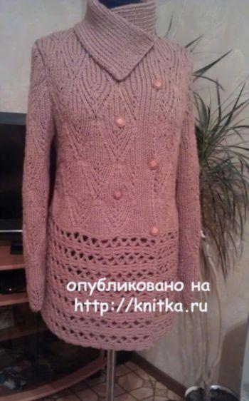 Теплый жакет спицами. Работа Елены Саенко. Вязание спицами.