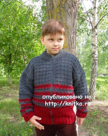 Куртка для мальчика. Работа Светланы Шевченко. Вязание спицами.