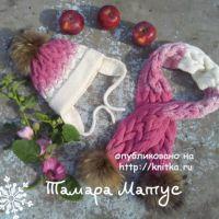 Шарф и шапка для девочки  спицами. Работы Тамары Матус