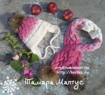 Шарф и шапка для девочки  спицами. Работы Тамары Матус. Вязание спицами.