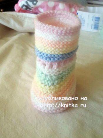 Вязаные пинетки. Работы Людмилы. Вязание спицами.
