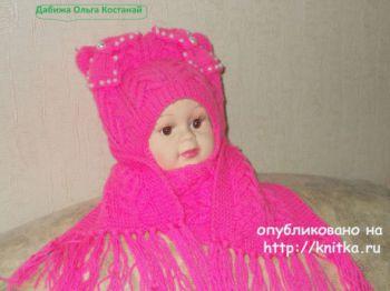 Шапочка и шарф спицами. Работы Ольги. Вязание спицами.