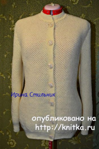 Женская кофта спицами. Работа Ирины Стильник. Вязание спицами.