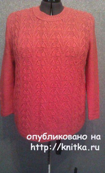 Женский пуловер спицами. Работа TatVen. Вязание спицами.