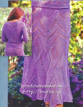Ажурная юбка. Вязание спицами.