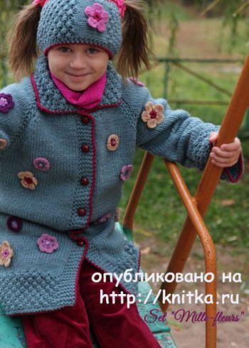 Детский комплект Мильфлёр. Работа Светланы Шевченко. Вязание спицами.