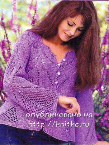 Фиолетовый ажурный жакет. Вязание спицами.