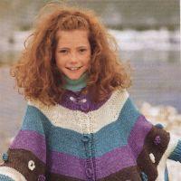 Вязание спицами – полосатое пончо
