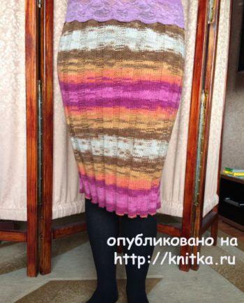 Теплая вязаная спицами юбка от Татьяны