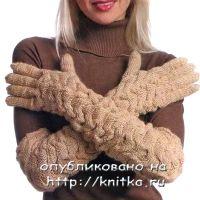 Вяжем спицами длинные перчатки
