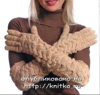 Вяжем спицами длинные перчатки. Вязание спицами.