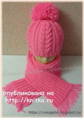Шапка и шарф спицами. Работа Светланы. Вязание спицами.
