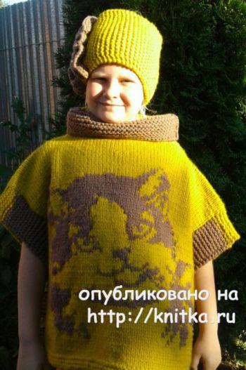 Пончо для девочки спицами. Работа Галины. Вязание спицами.