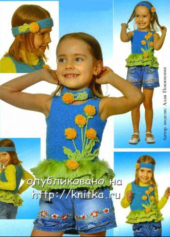 Кофточка для девочки, связанная спицами. Вязание спицами.