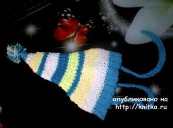 Шапка – буратинка спицами. Работа Светлан Сундуковой. Вязание спицами.