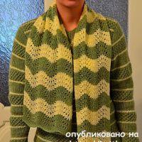 Комплект спицами: свитер и шарф. Работы Светланы