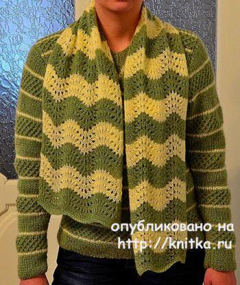 Комплект спицами: свитер женский и шарф