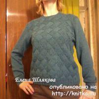 Женский пуловер в технике энтерлак. Работа Елены Шляковой