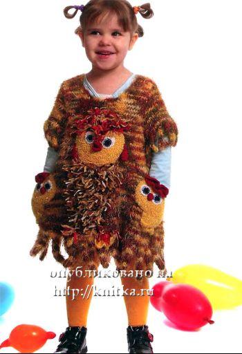 Сарафан с цыплятами. Вязание спицами.